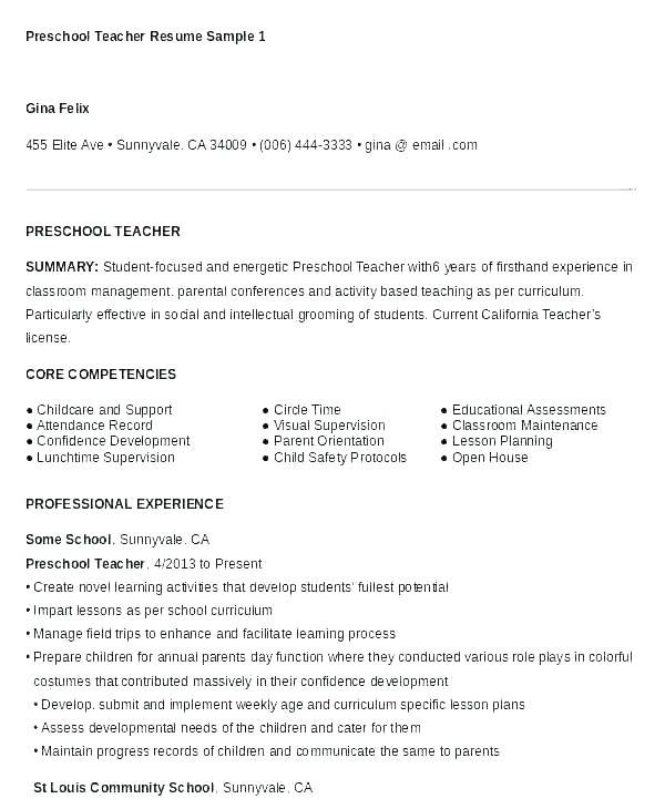 Format For Teacher Resume Resume Sample For Teaching