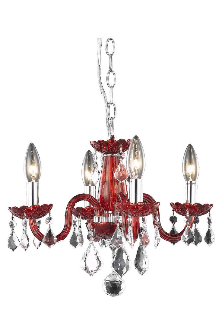 Rococo 4 Light Bordeaux (Red) Pendant in Red Finish 7804D15RD/RC