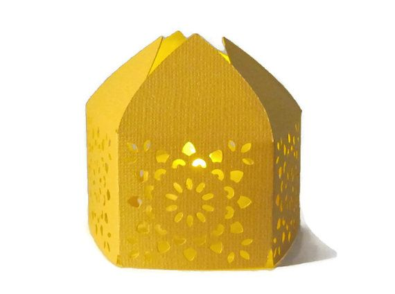 Yellow Handmade Moroccan Middle Eastern Paper Wedding Lantern with LED Battery Tea Light Candle  Event Decor - Party Favor - Lighting on Etsy, $3.75