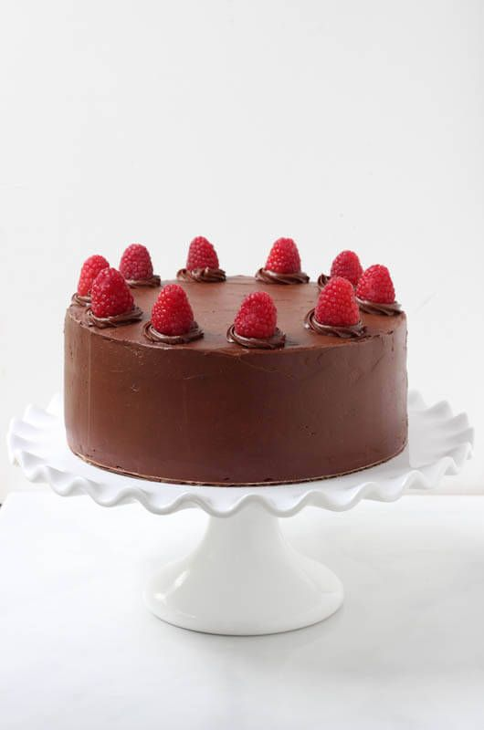 Double Chocolate Cake with Raspberry Buttercream Filling - Spoonful of Flavor