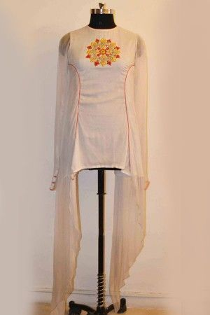 White Color Chiffon Kurta Design By Romsha Singh. Customise now…