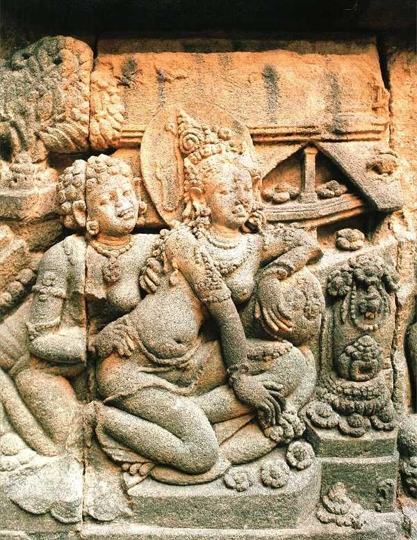 Bas-relief, tempel van Prambanan (900-930 na Chr.), Java, Indonesie