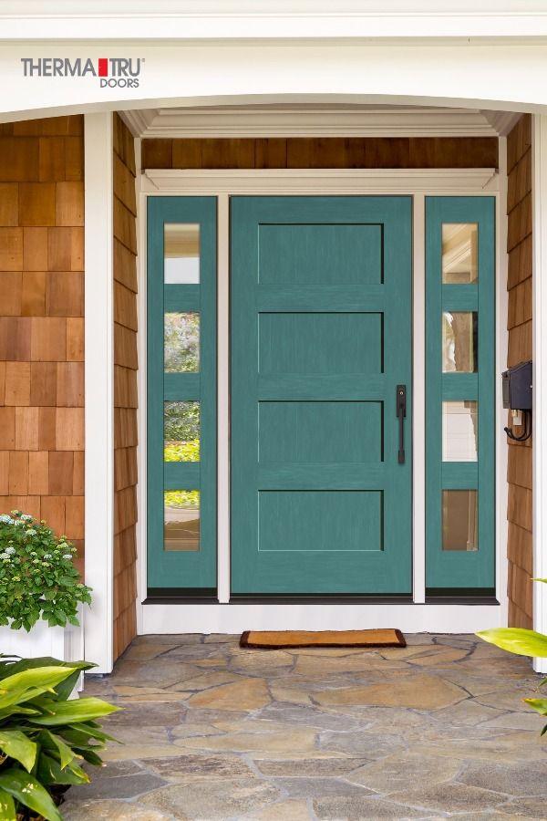 4 Panel Exterior Shaker Style Door Therma Tru Fiberglass Exterior Doors Shaker Style Doors Exterior Doors