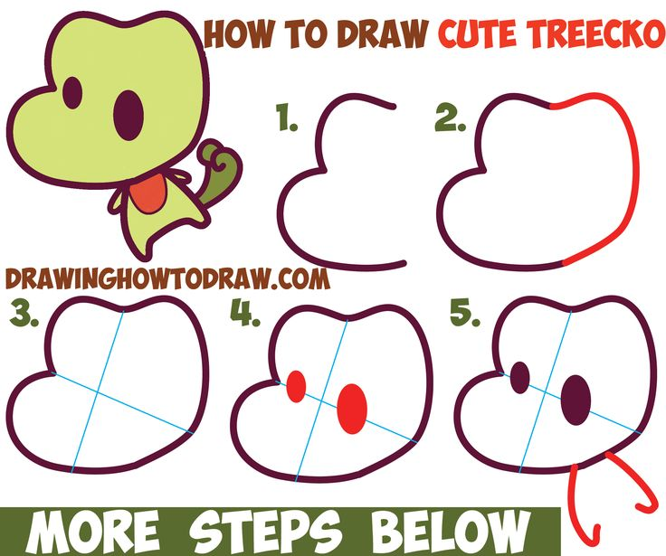 How To Draw Treecko From Pokemon Cute Chibi Kawaii Easy Step