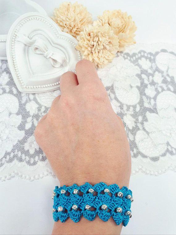 Turquoise beaded bracelet turquoise crochet bracelet fiber