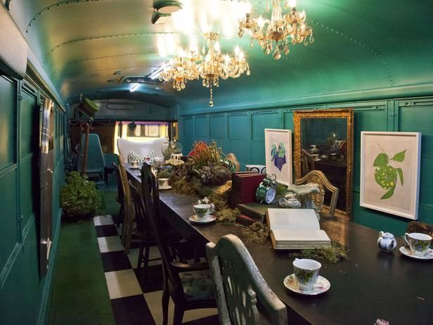 HGTV Star contestant Tiffany Brooks turned the inside of her school bus into a whimsical, Alice in Wonderland-inspired dining room. (http://www.hgtv.com/hgtv-star/hgtv-star-season-8-photo-highlights-from-episode-6/pictures/page-5.html?soc=Pinterest)