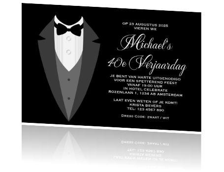 Formele zwart wit uitnodiging voor 40e verjaardag