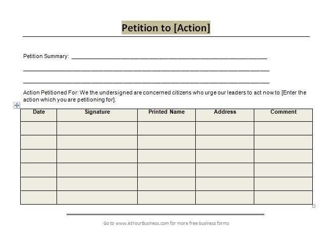 petition word template