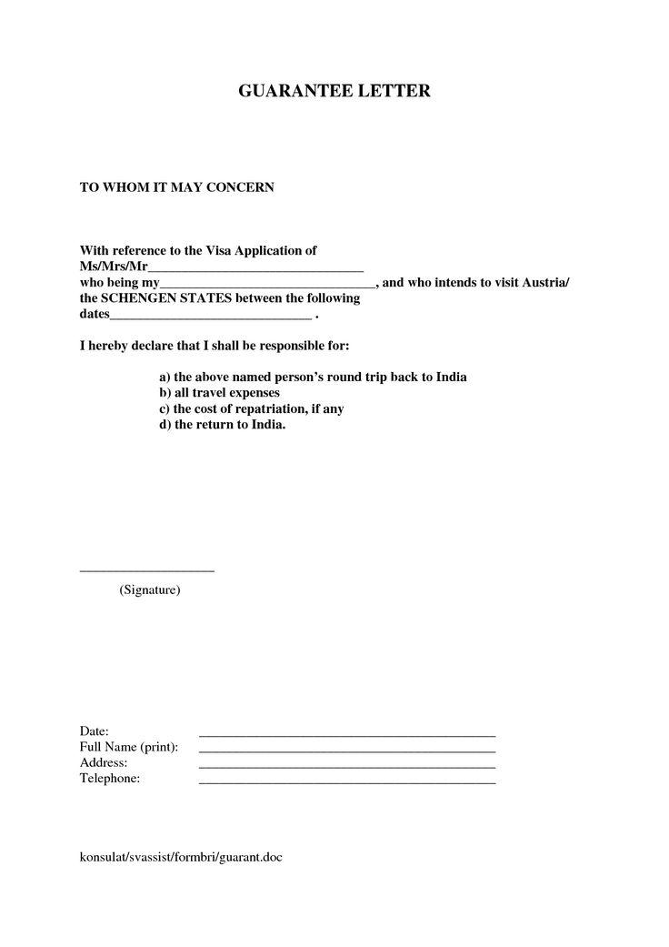 letter financial guarantee letter for visa sample templatevisa request letter application letter