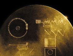 Voyager spacecraft - Image of the Golden Record containing messages and information about Earth, for any alien intelligence that happens to discover it.