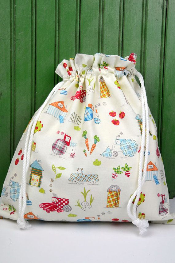 LARGE Reusable Drawstring Bag | Etsy LittleBirdsBoutique