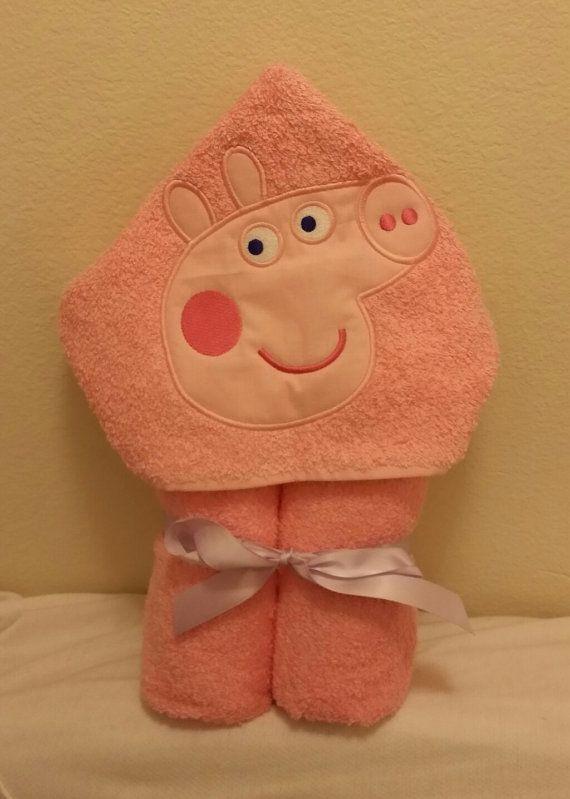 Pep Pig Hooded Towel by RainDanceDesignzShop on Etsy, $30.00