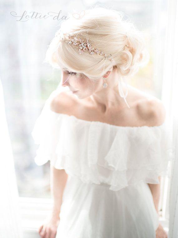 Rose Gold Blume Haar Rebe Krone Stirnband Halo von LottieDaDesigns