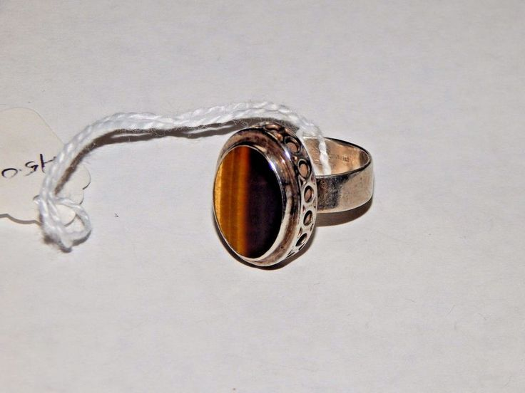 RAK Sterling .925 Silver and Tigers Eye Gemstone Ring Size 7 modernist  #RAKSterling