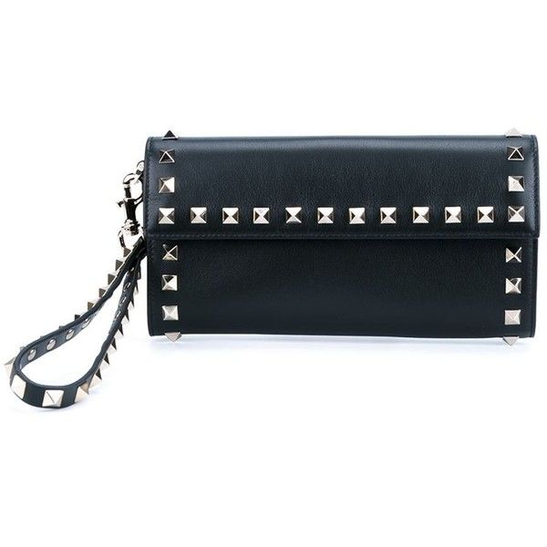 Valentino 'Rockstud' wallet ($645) ❤ liked on Polyvore featuring bags, wallets, black, snap wallet, decorating bags, snap bag, valentino wallet and valentino bag