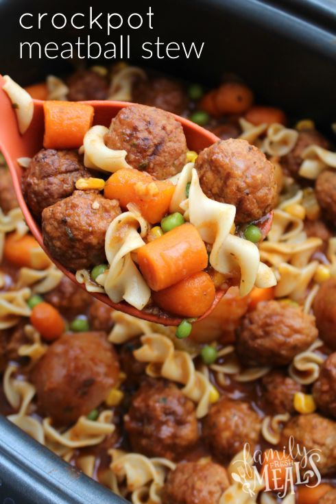 Crockpot Meatball Stew - Easy meal your family will love! http://FamilyFreshMeals.com  - YUM!