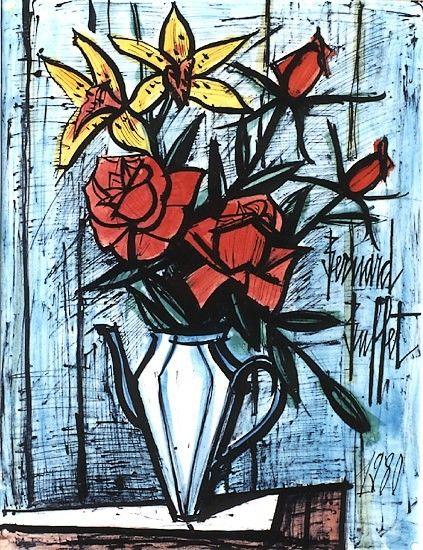 Bernard Buffet,Roses et orchidees dans une cafetiere - 1980, mixed media on paper - 65 x 50 cm