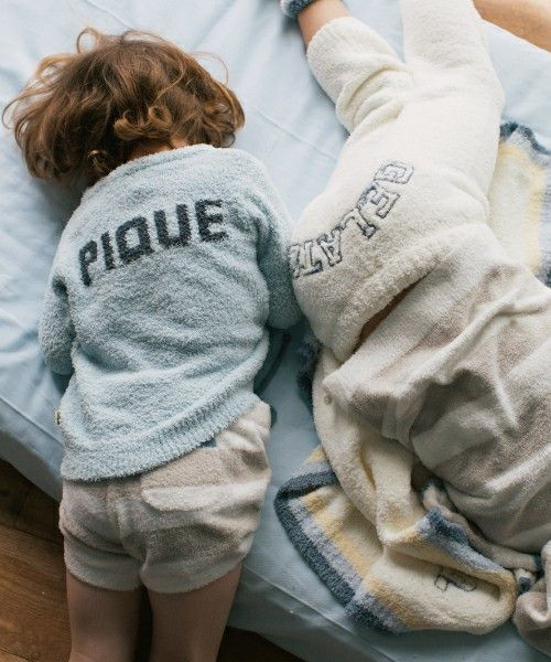 gelato pique Baby&Kids(ジェラートピケベイビーアンドキッズ)のmoco moco'スムーズィー'kids2ボーダーショートパンツ(ルームウェア)|ベージュ