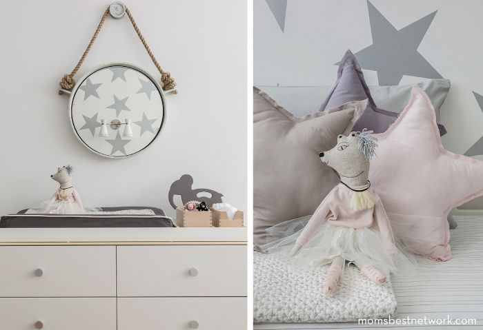 Chic shared room space for a toddler and baby!  featuring Sissy + Marley  via momsbestnetwork.com