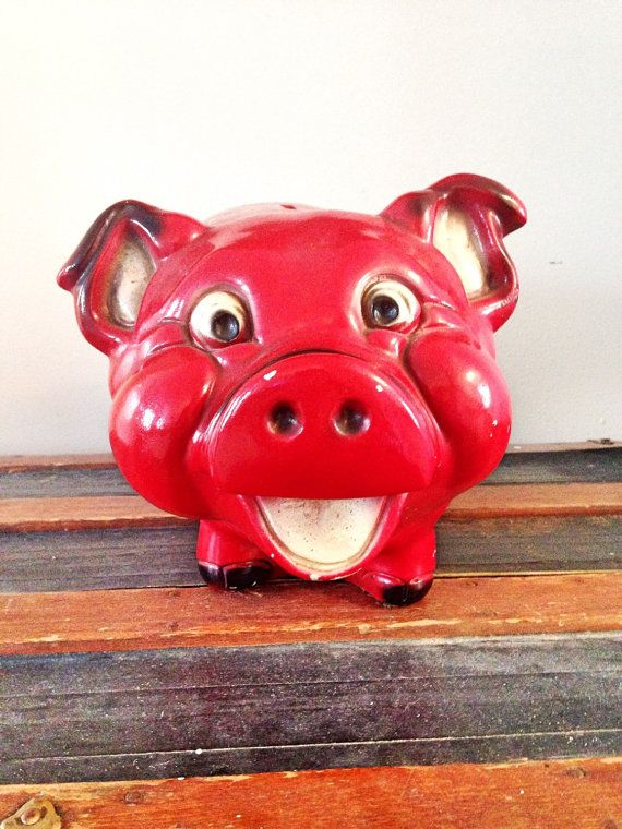 Vintage Large A.N. Brooks Chalkware Chippy piggy bank farmhouse gag gift rare