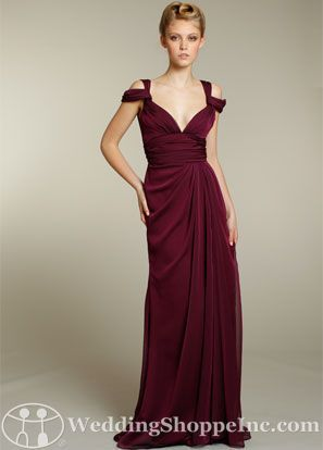 Jim Hjelm Bridesmaid Dresses, Fall 2011. Style 5177 is a stunningly romantic Luminescent Chiffon A-line bridesmaid dress that features a V-neckline front and back, a flattering draped natural waist, as well as a slit front sheath skirt.