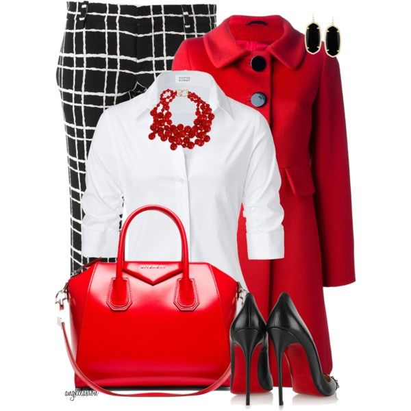 Red! by angkclaxton on Polyvore featuring polyvore fashion style Steffen Schraut Cinzia Rocca Dsquared2 Christian Louboutin Givenchy Kenneth Jay Lane Kendra Scott