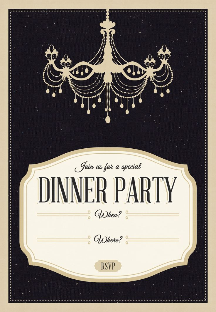 Classy Chandelier - Free Printable Dinner Party Invitation - free printable dinner party invitations