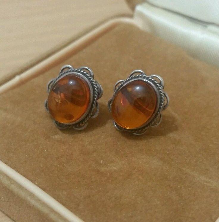 VINTAGE JEWELLERY GORGEOUS SOLID SILVER AMBER STUD EARRINGS in Jewellery & Watches, Fine Jewellery, Fine Earrings | eBay