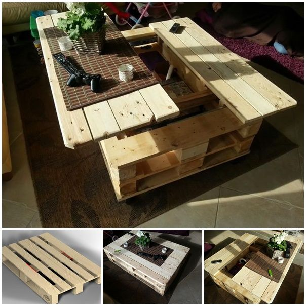 DIY Multifunction Pallet Coffee Table With Storage, Slide Out And Lift Top... awesome !  #diy #furniture #pallet