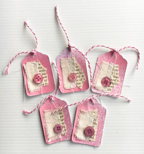 5 Handmade Tags to use in your Junk Journals or Scrapbooking. All have been hand sprayed with stitched pieces of book paper and fabric for a shabby vintage look. All tags are finished off with a button and Twine! Tags - 2in x 1 1/4 - All measurements approximate. Thanks for Shopping with Blissfully Cre8tive! ...