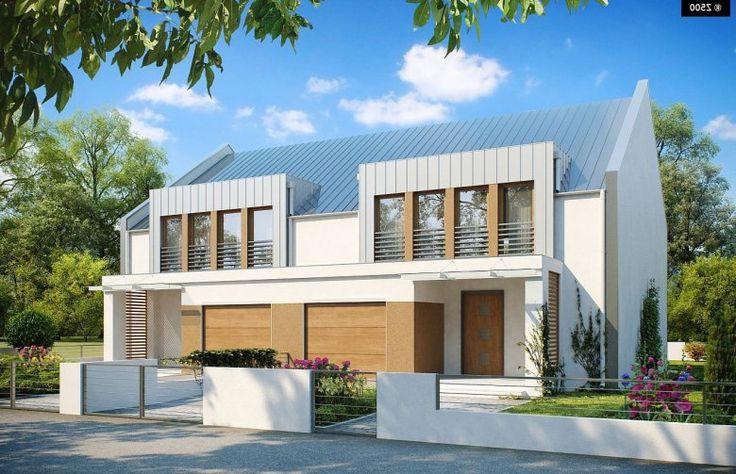 ZB5 to projekt nowoczesnego domu bliźniaczego.