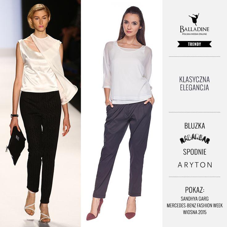 Poniedziałkowy powrót do pracy zaczynamy od eleganckiego zestawu z niezbyt oczywistą białą bluzką i czarnymi spodniami. Co Wy na to?  Bluzka Rabarbar | http://goo.gl/a67skA Spodnie Aryton | http://goo.gl/LLe5cZ