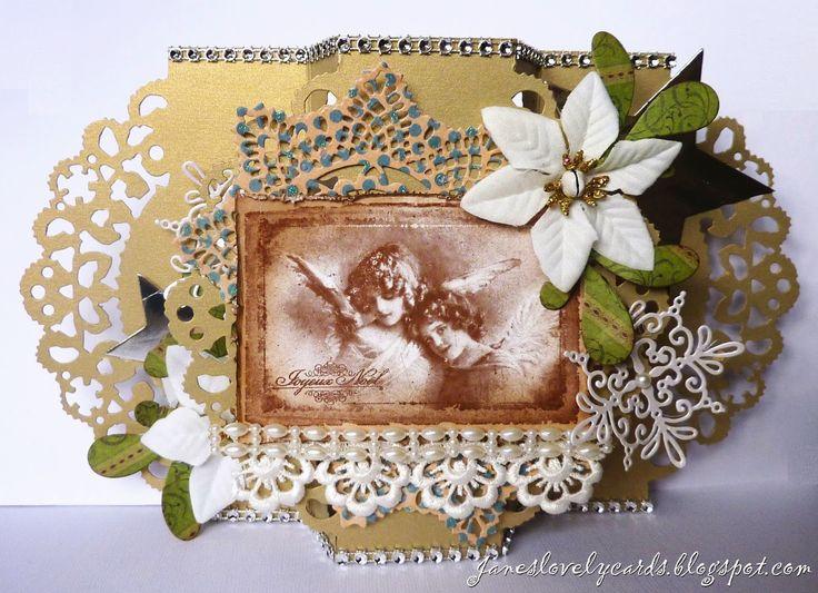 Stempelglede :: Design Team Blog: Vintage Christmas Card. Rubber stamps used for this project: Vintage Christmas stamp set. 2014 © Jane Johnson