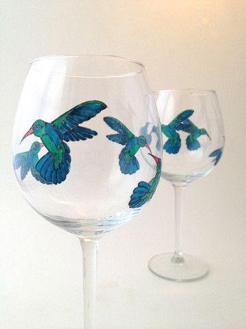 Toasted Glass - Hummingbird Wine Goblets