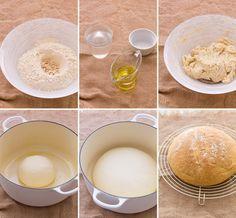 pan de pueblo 310g harina de fuerza 175g agua a temperatura ambiente 20g aceite de oliva virgen extra 15g levadura fresca 8g de sal mezclar reposar 1h 30´ Hornear 220º 30´