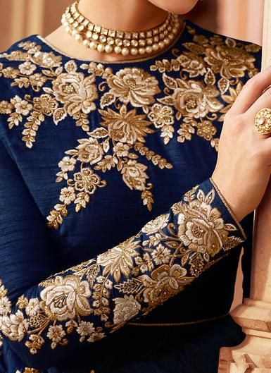 884878707b Deep Blue and Gold Embroidered Art Silk Anarkali in 2019 | Ready |  Embroidery dress, Designer anarkali dresses, Zardozi embroidery
