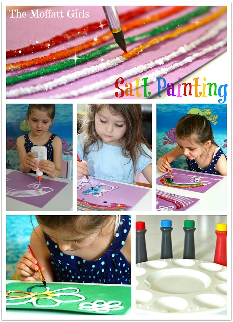 Easy Salt Painting!  Simple ingredients: glue, food coloring, construction paper, paintbrushes and salt.  It is a magical experience and so much FUN!