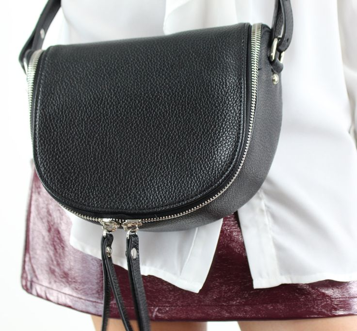 Vero Moda Small Black Leather Look Silver Zip Across The Body Bag