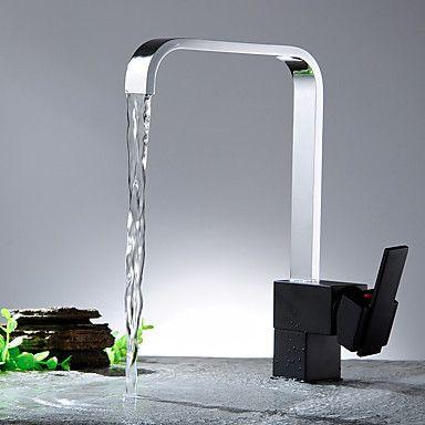 Keukenkranen-Modern-Waterval-Messing(Nikkel gepolijst)