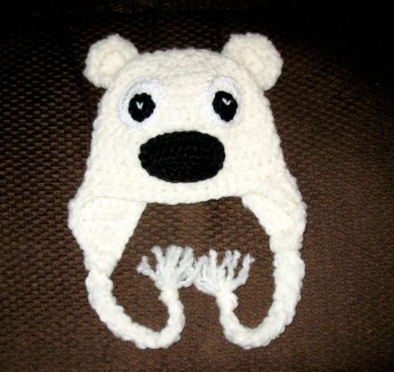 Polar Bear Hat Pattern - Crochet Pattern 12 - Beanie and Earflap Patt?