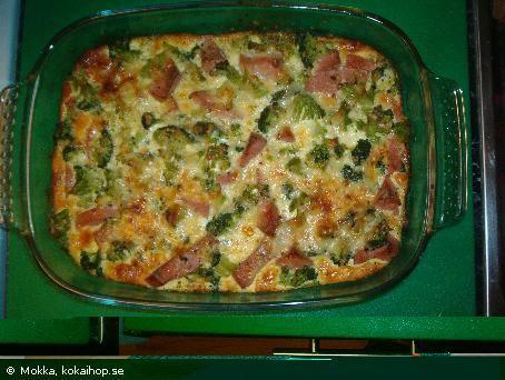 LCHF-Broccoli/ falukorvsgratäng - Recept