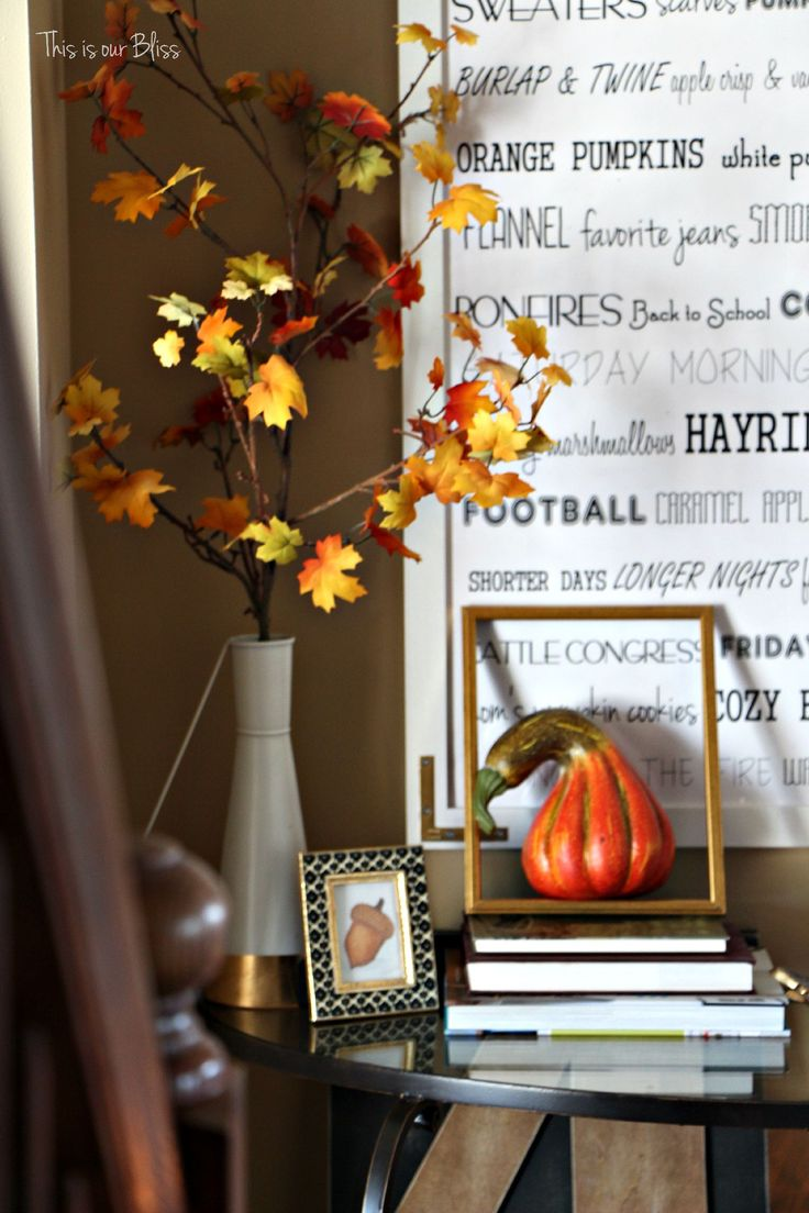 Fall entryway - fall vignette - entryway table styling - fall decor - neutral fall decor -staircase view - fall word art - This is our Bliss