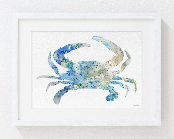 Blue Crab Art Watercolor Painting - 5x7 Archival Print, Atlantic Blue, Crab Art Print - Sea Life, Nature, Wall Art Home Decor