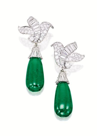 Impressive Pair of Emerald and Diamond Pendent Ear Clips, Van Cleef & Arpels, Circa 1950