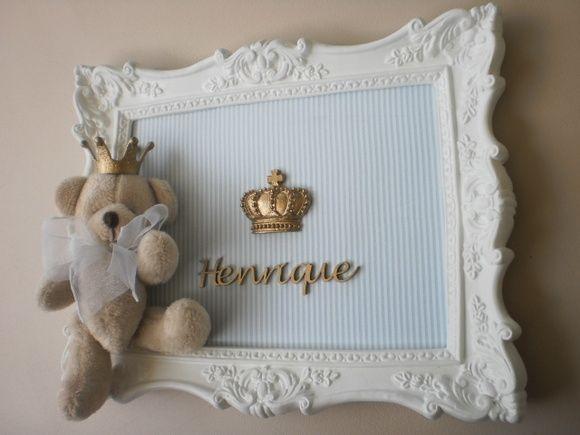 Quadro 28x22 em resina branco Urso   *Estampa tecido sob consulta R$ 195,00