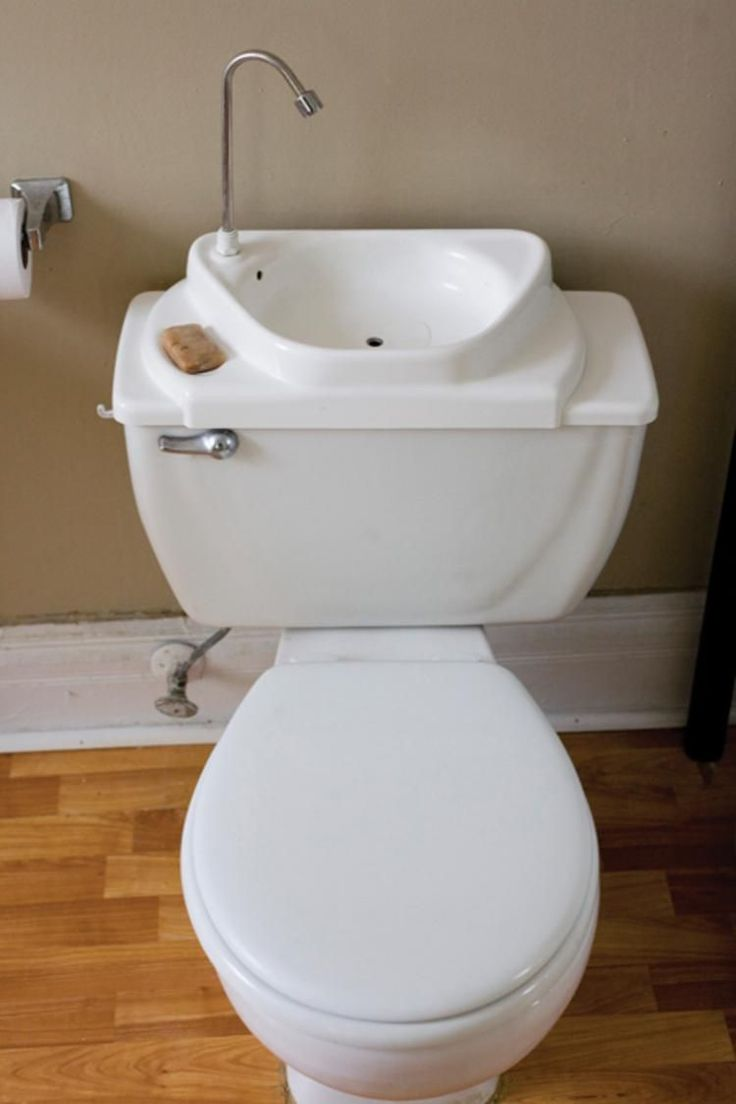 """Sink Positive: An after-market kit that replaces a toilet's reservoir lid with a sink that activates when flushed. The makers are still laboring to get consumer acceptance, fighting """"the ick factor"""" and building codes that don't know what to make of the toilet-sink combo."""