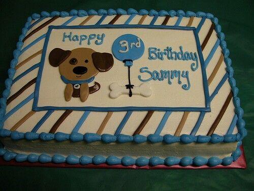 Cute puppy sheet cake design