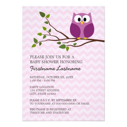 cute owl on branch and chevrons baby girl shower