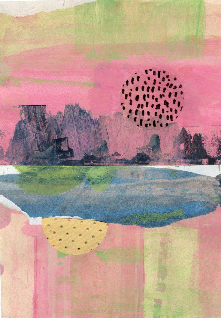 Lune montante: Art de Collage paysage abstrait d'origine mixte par KellyKautz sur Etsy https://www.etsy.com/ca-fr/listing/500062015/lune-montante-art-de-collage-paysage
