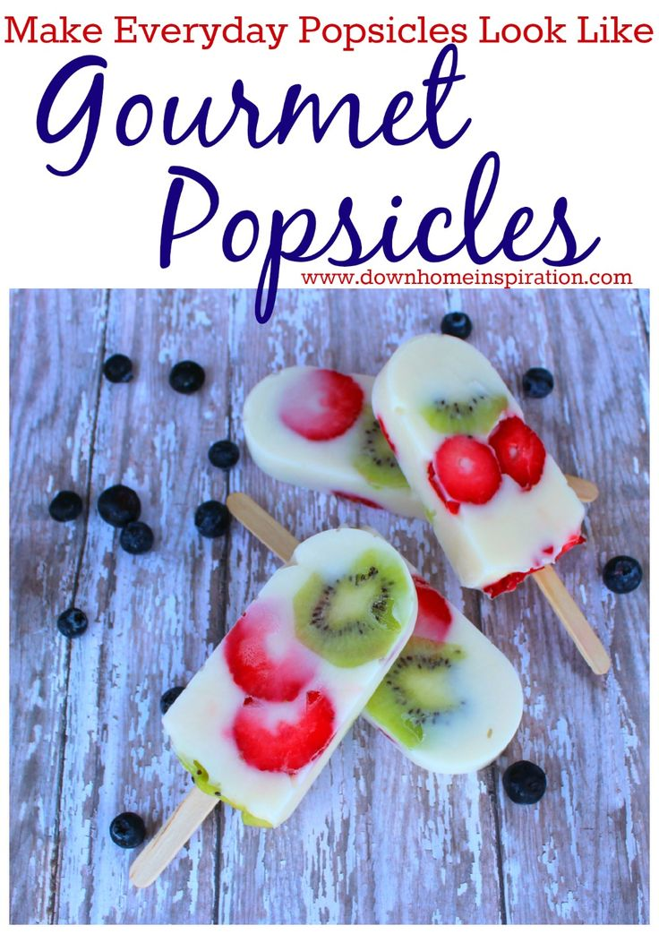 These are so simple, but so pretty!  And healthy because they are just greek yogurt and fruit.  Yummy!  Make Everyday Popsicles Look Like Gourmet Popsicles - Down Home Inspiration